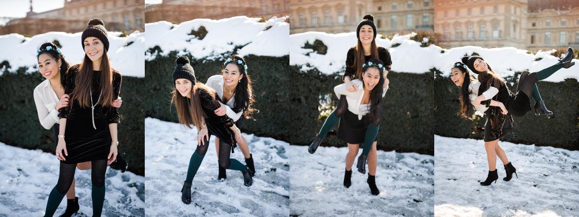 photos de copine en contre jour coucher du soleil à paris sous la neige